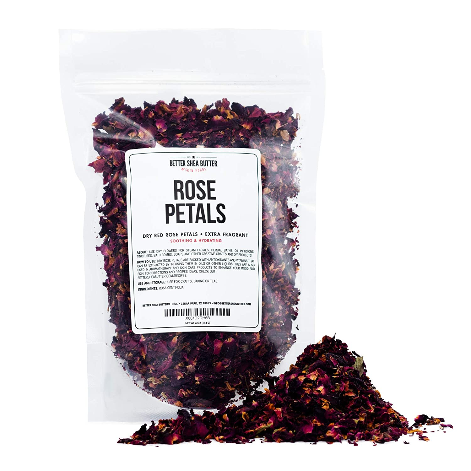Dry Rose Petals, Red and Fragrant for Tea, Baking, Crafts, Sachets, Baths, Aromatherapy, Oil Infusions, Tinctures - 4oz in Resealable, Recyclable Pouch - by Better Shea Butter