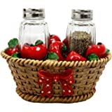 """Atlantic Collectibles Country Harvest of Red Juicy Apples In Fruit Gift Basket Decorative Glass Salt Pepper Shakers Holder Resin Figurine 6.75""""L"""