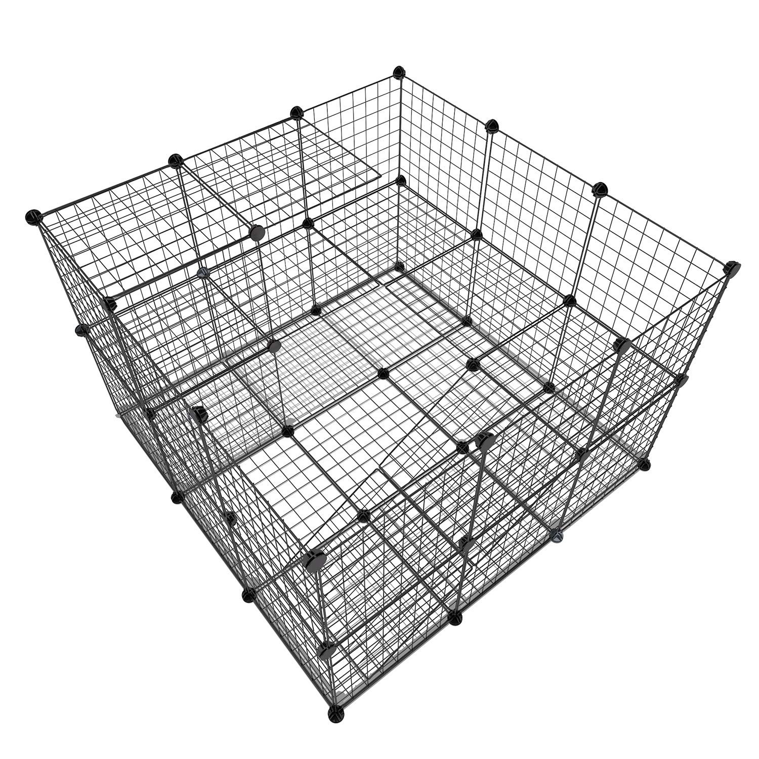 Tespo Pet Playpen, Small Animal Cage Indoor Portable Metal Wire Yard Fence for Small Animals, Guinea Pigs, Rabbits Kennel Crate Fence Tent (Black,43) by Tespo