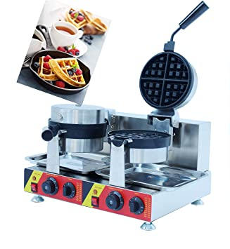 MXBAOHENG Rotary Waffle Máquina 2 Sartenes Acero Inoxidable Eléctrico Máquina para hacer Gofres Waffle Baker con Dos Heads 220V: Amazon.es: Hogar