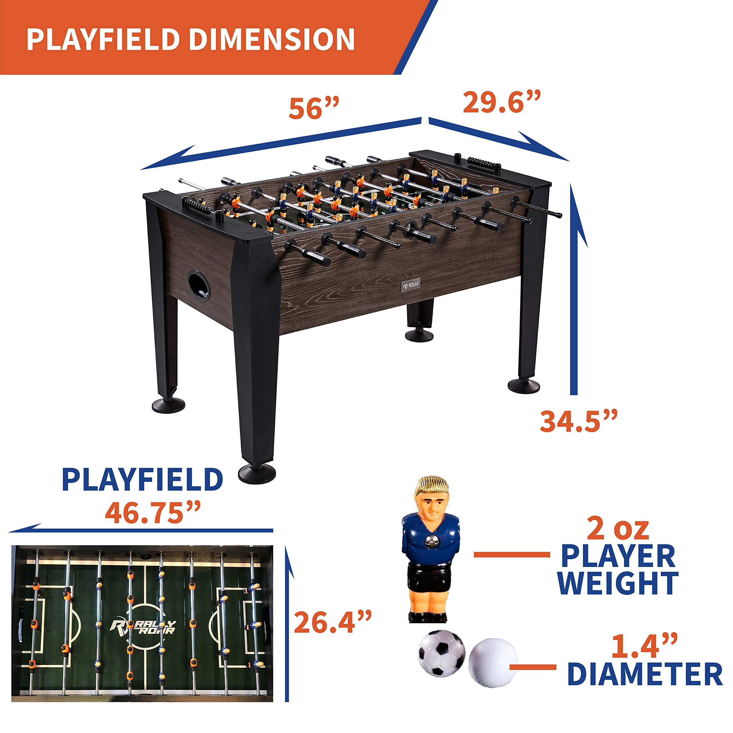 """Rally and Roar Foosball Table Game – 56"""" Standard Size Fun, Multi Person Table Soccer Adults, Kids - Recreational Foosball Games Game Rooms, Arcades, Bars, Parties, Family Night by Rally and Roar (Image #5)"""
