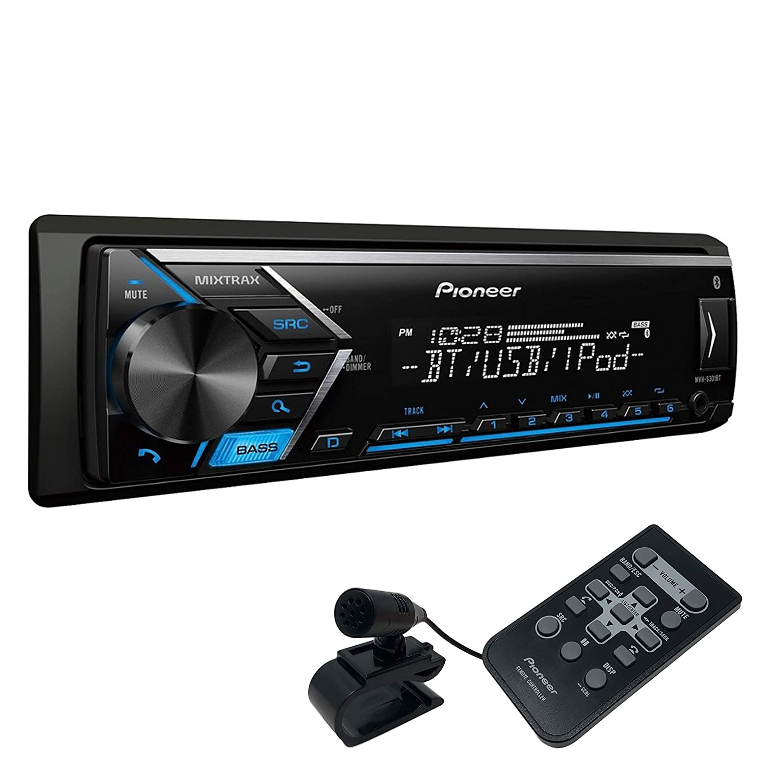 MIXTRAX Pioneer MVH-S301BT Single DIN Digital Media Receiver with Improved ARC App Compatibility Built-in Bluetooth Pioneer Electronic