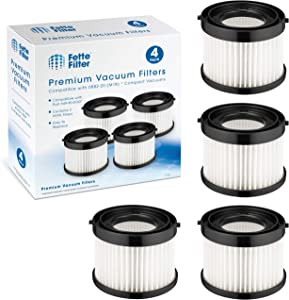 Fette Filter - HEPA Dry Filter Compatible with Milwaukee 49-90-0160, Designed for 0882-20 M18 Compact Vacuum. Pack of 4