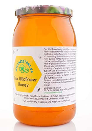 Wellnesstore uk ECO RAW WILDFLOWER HONEY 1 25kg - Pure Natural  Unpasteurised Wild Flower Honey - Unfiltered Unheated with High  Concentration of