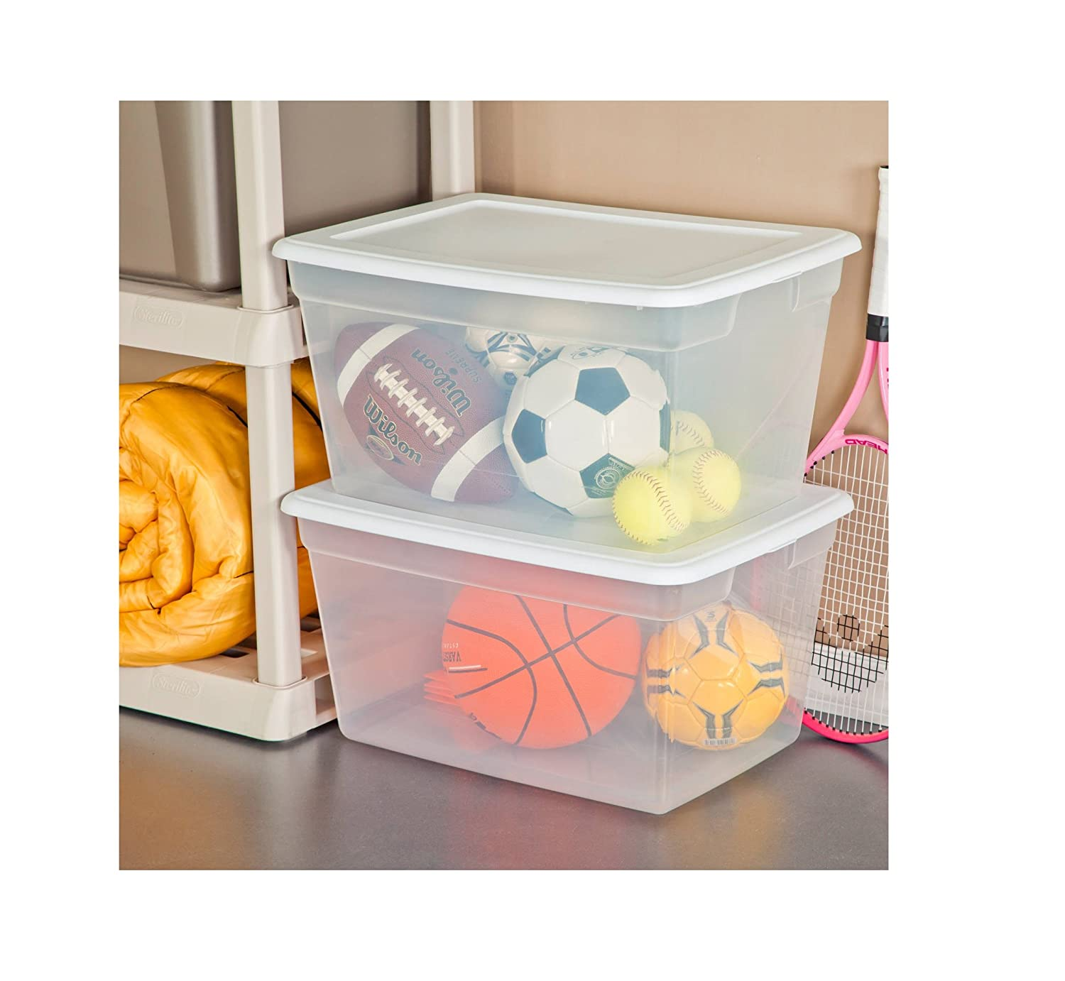 Amazon.com : Sterilite 58 Quart See Through Plastic Storage Box With Lid,  White, (White) (Case Of 8) : Baby