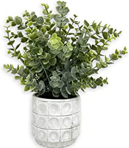 Artificial Eucalyptus Plants with Potted Fake Plant Cement Pot for Home Office Desk Room Greenery Decoration