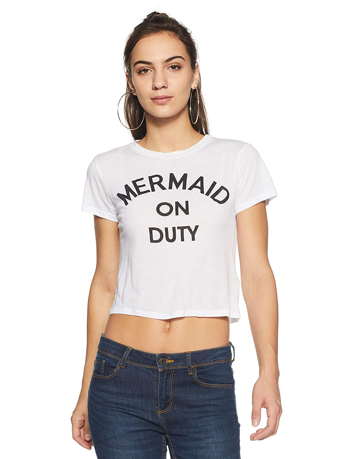 3c45fe0a9 Forever 21 Women's Mermaid On Duty Graphic Tee Logo 195514, Medium,  White/Black: Amazon.in: Clothing & Accessories