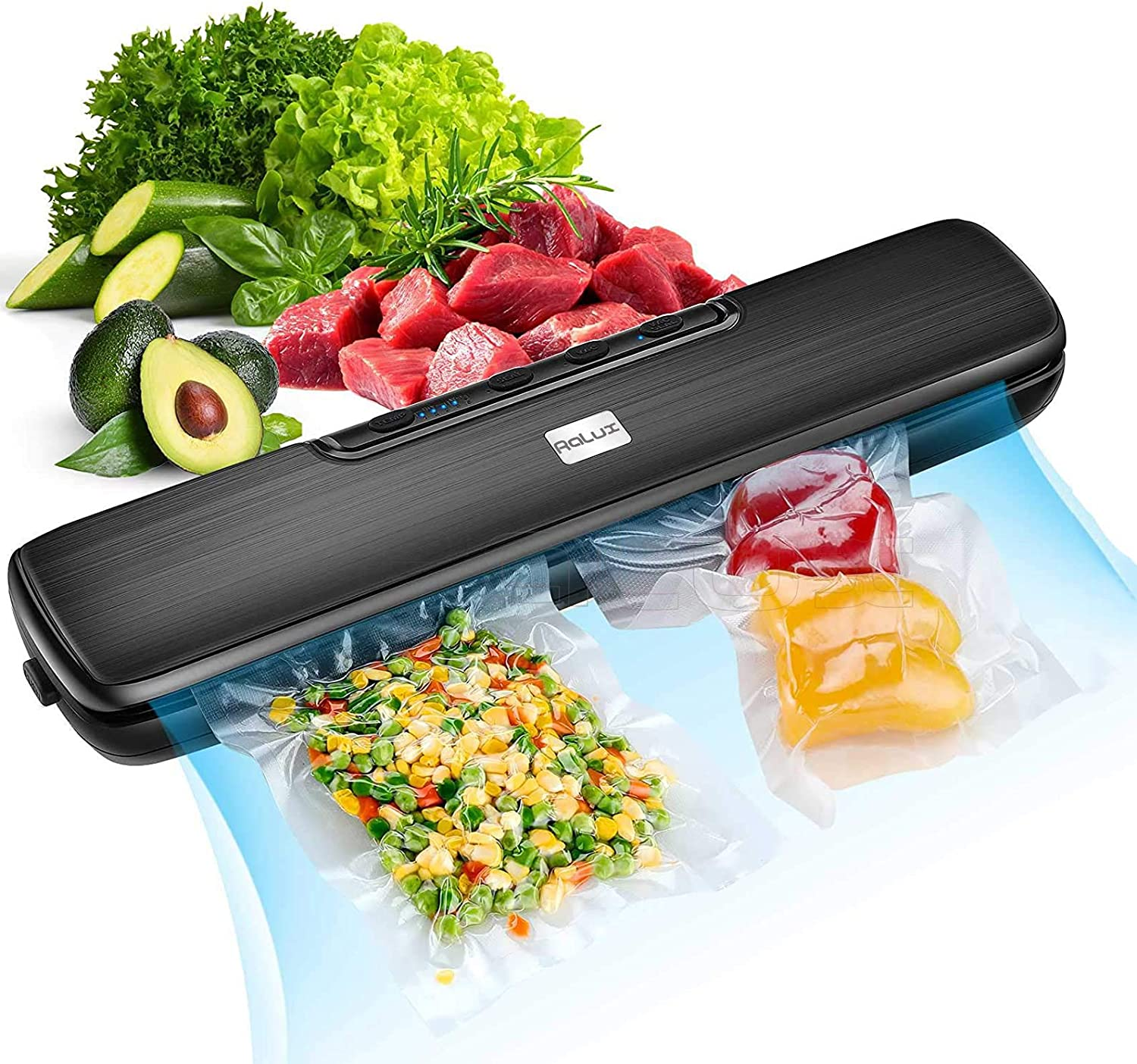Vacuum Sealer Machine Automatic Food Sealer for Food Saver, Built in Air Sealing System with Vacuum Sealer Kits, Automatic Food Saver with Dry & Wet Food Modes Vacuum System, 15 Sealing Bags included, 5-level Temperature Control/Waterproof/Led Light/Easy to Clean/Portable Design