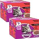 Whiskas sachets fraîcheur aux viandes en sauce pour chat 1 avec ; 24x100g - Lot de 2 (48 Sachets fraîcheur)