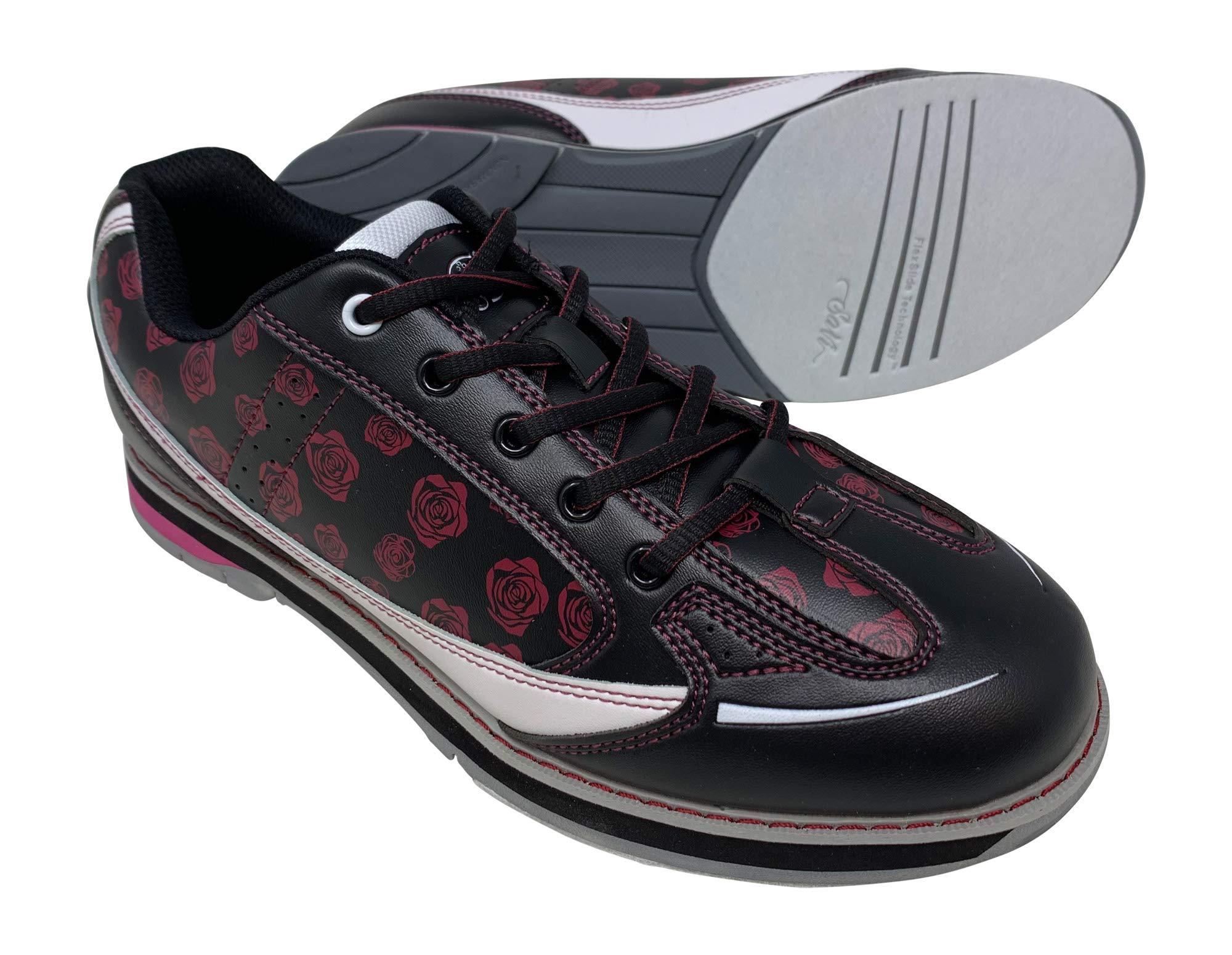 SaVi Bowling Women's Roses Black/Red/White Bowling Shoes (7.5) by SaVi Bowling Products