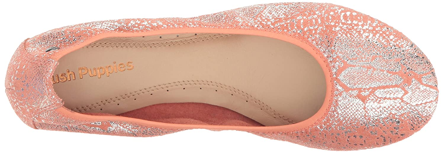 Hush Puppies Women's Chaste Ballet Flat B005B0SO02 8.5 W US|Peach Metallic Snake Suede