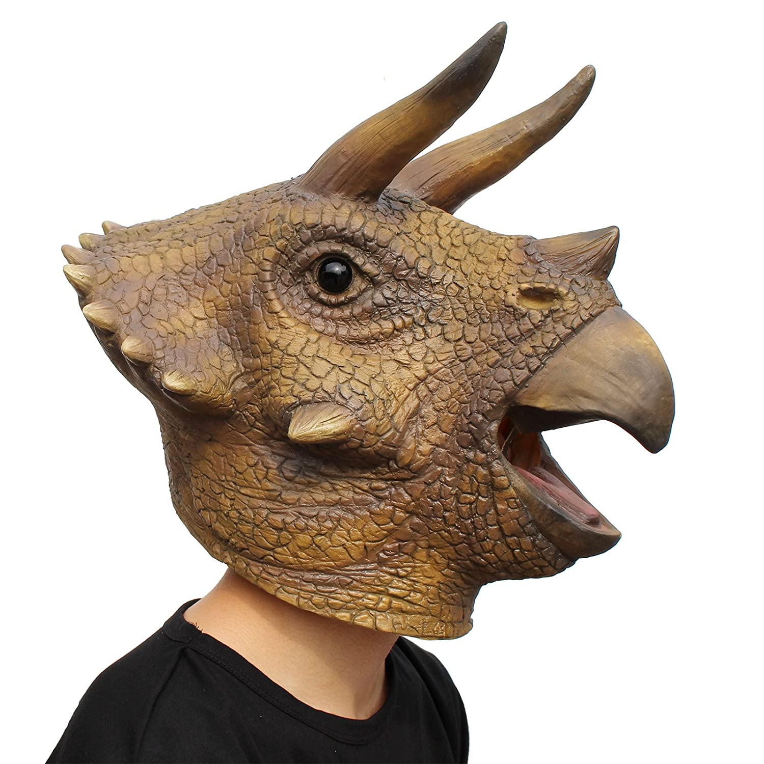 PartyCostume - Triceratops Mask - Halloween Latex Animal Head T-Rex Jurassic Dinosaur Mask Faihong