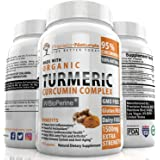 Organic Turmeric Curcumin with Bioperine. 1500mg/serving Highest Potency Available. Premium Pain Relief & Joint Support w/ 95% Standardized Curcuminoids. Non-GMO, Gluten Free Capsules w/ Black Pepper