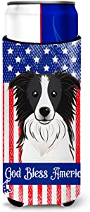 Caroline's Treasures BB2171MUK God Bless American Flag with Border Collie Michelob Ultra beverage Insulator for slim cans, Slim Can, multicolor