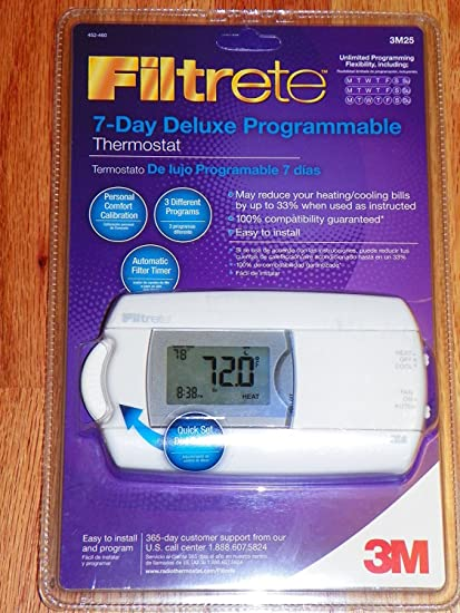 filtrete 7 day deluxe programmable thermostat 3m25 programmable rh amazon com
