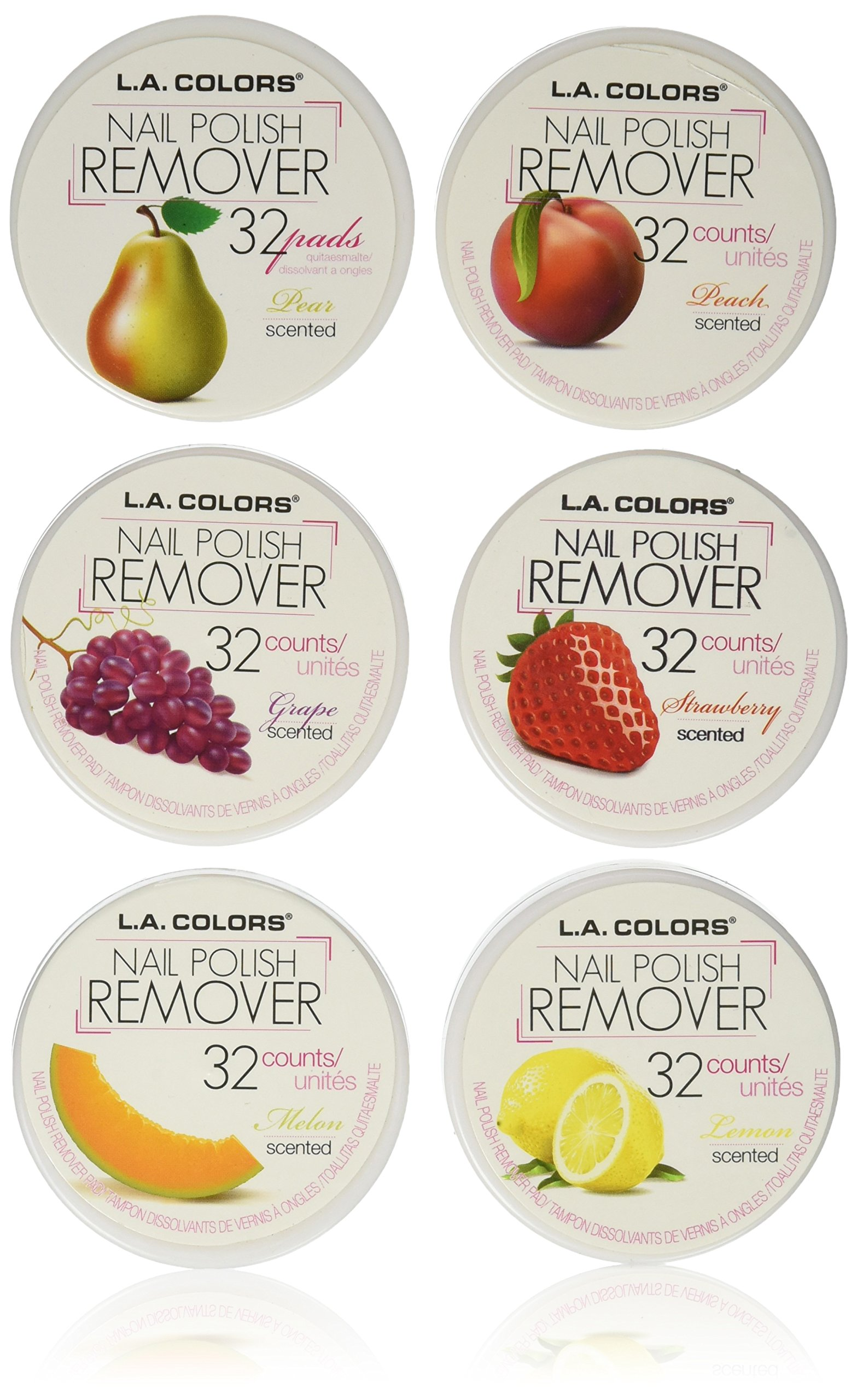 L.A. Colors Nail Polish Remover Pads 6 Fruit Scents (32 Pads of each) by L.A. COLORS