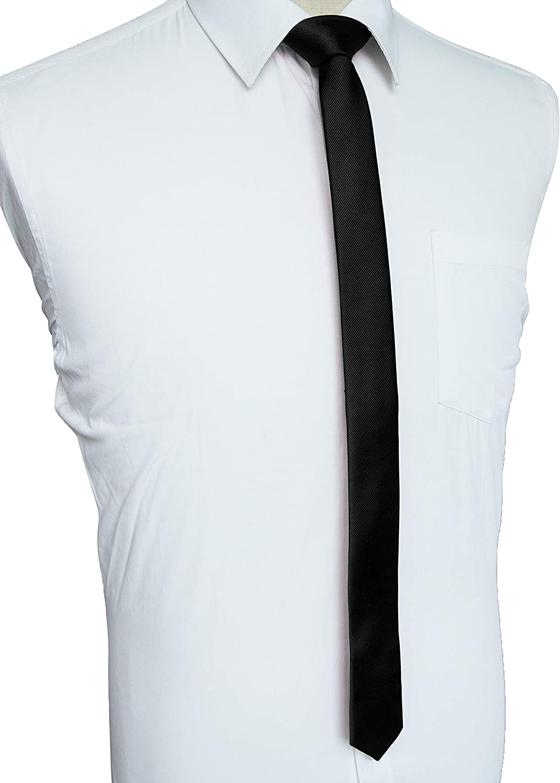 Schwarz Slim JEMYGINS schmale Herren Krawatte einfarbig in verschiedenen Farben 4cm