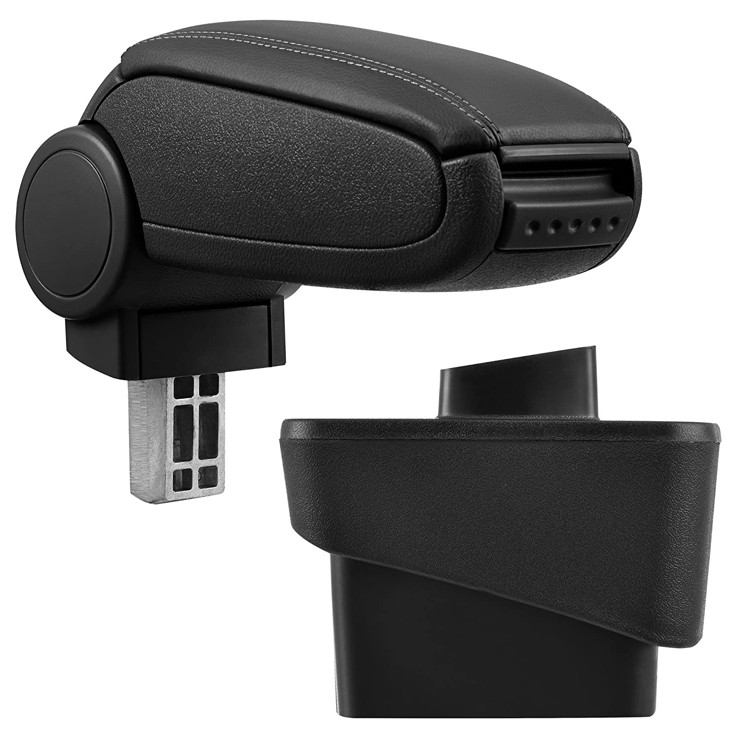 inkl imitation leather cover // black with red stitching Car Armrest Perfekt Fit pro.tec Centre Console Storage Box