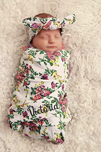1242596e500 Image Unavailable. Image not available for. Color  Personalized Baby Blanket  and Headband Set Personalized Swaddle Blanket Baby Girl ...