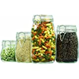 Anchor Hocking Round Glass Storage Canister Set with Hinged Lids, 4-Piece Set