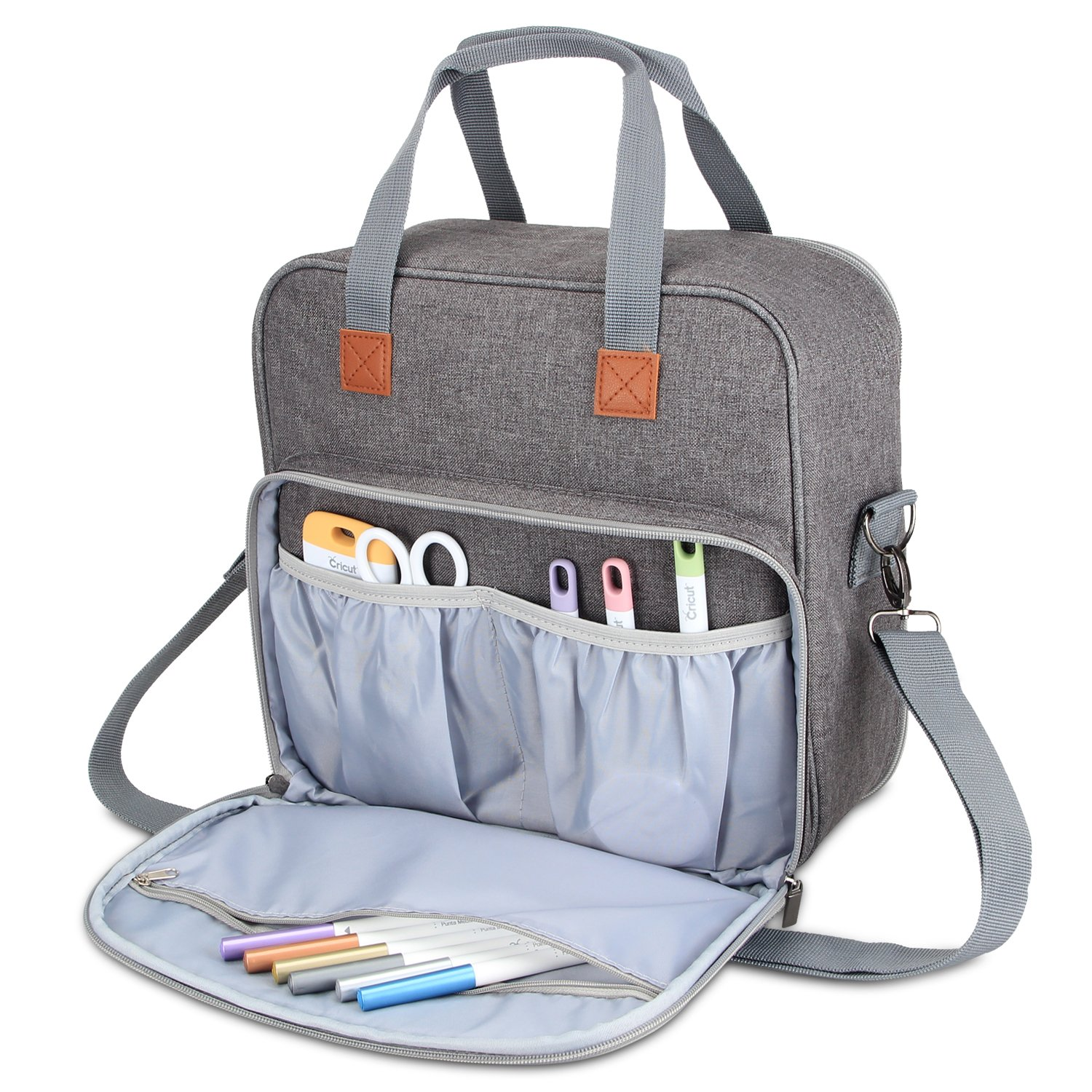 Luxja Carrying Case Compatible with Cricut Easy Press (9 inches x 9 inches), Tote Bag Compatible with Cricut Easy Press and Supplies (NO Accessories Included), Purple