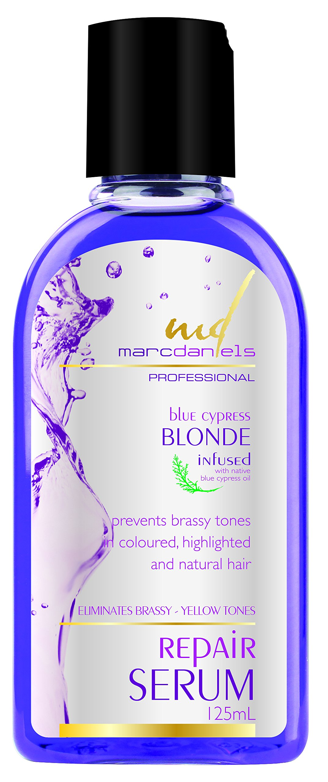 Purple Hair Repair Serum Treatment. Neutralize Brassy Yellow Tones, Detangle & Defreeze. For Blonde, Color Treated, & Gray Hair. Blue Cypress and Moroccan Argan Oil by MARC DANIELS Professional
