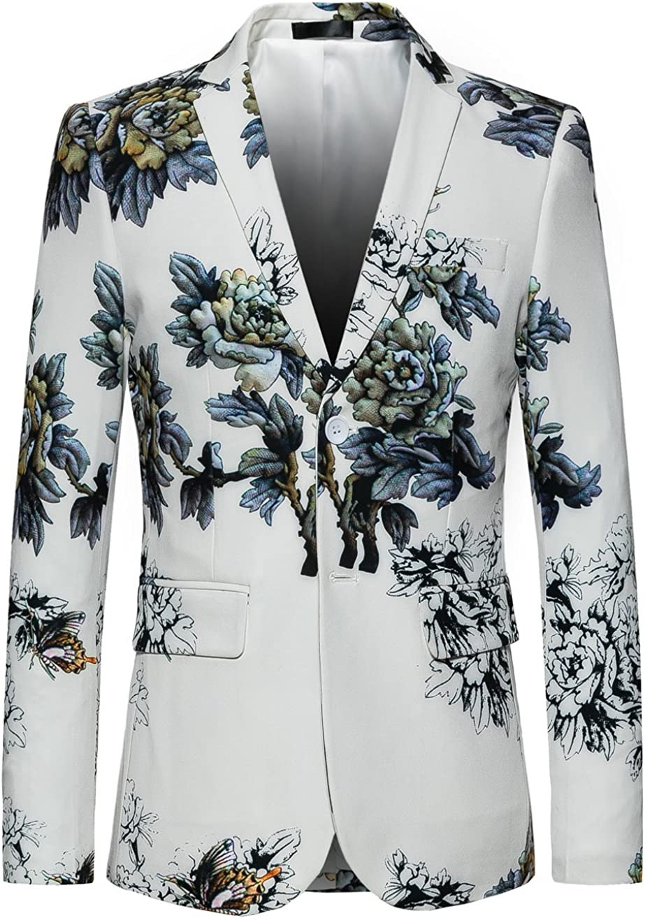 MOGU Mens Slim Fit Floral White Blazer