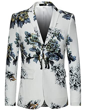 4d60e0a805e7 MOGU Mens Slim Fit Floral White Blazer at Amazon Men s Clothing store
