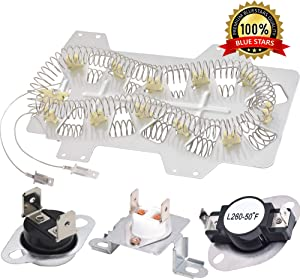 Dryer Heating Element DC47-00019A, DC96-00887A & DC47-00016A Thermal Fuse and DC47-00018A Thermostat COMPLETE Dryer Repair Kit Replacement by Blue Stars for Samsung Dryer