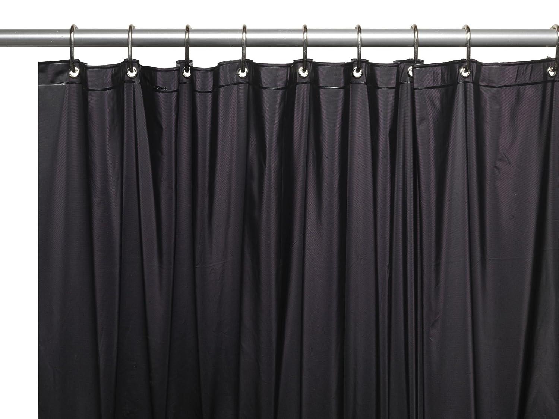 "Royal Bath Extra Heavy 10 Gauge Vinyl Shower Curtain with Metal Grommets (72"" x 72"") - Black"