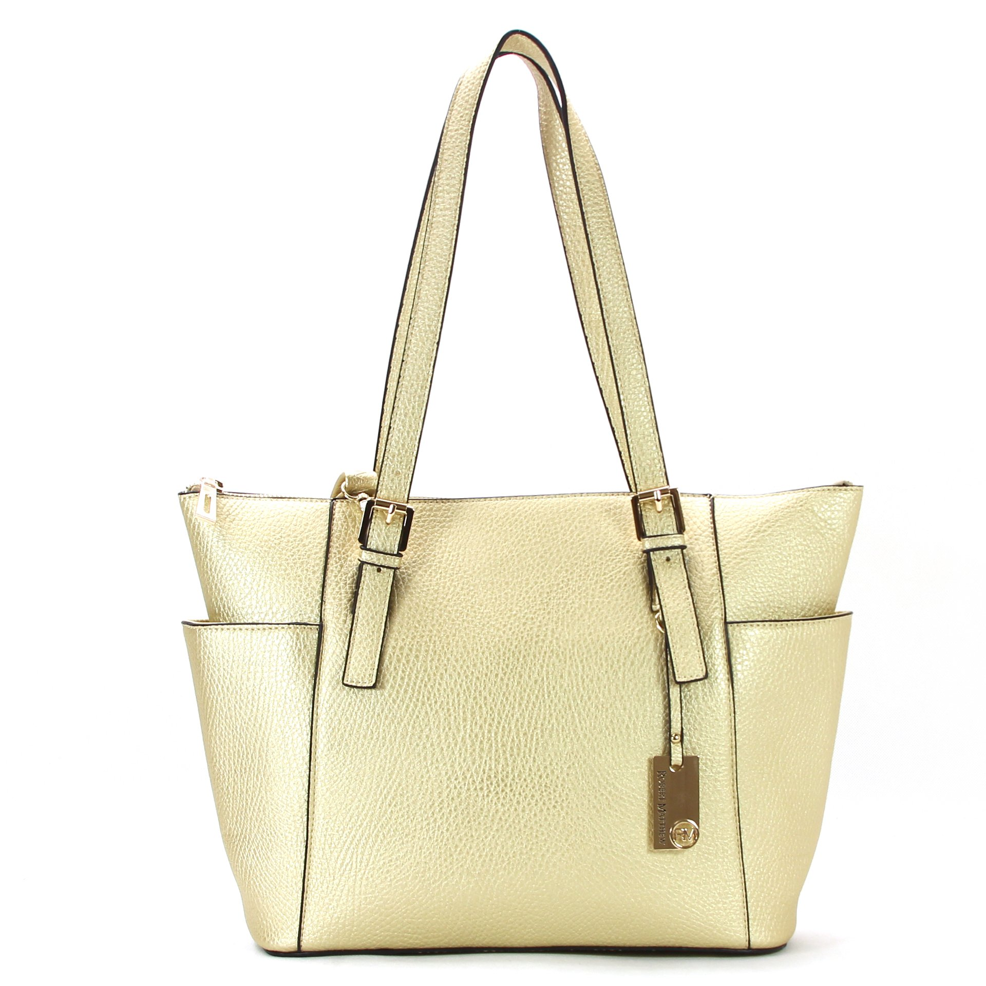 Amazon Prime Deals - Robert Matthew Fashion Khloe Womens Tote Bag, Designer Gold Pu Leather Purses
