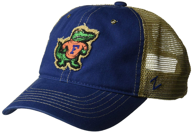 8e874f4c20424b Amazon.com   Zephyr University of Florida Gators UF Blue Tatter Vintage  Logo Trucker Mesh Adult Mens Adjustable Baseball Hat Cap   Sports   Outdoors