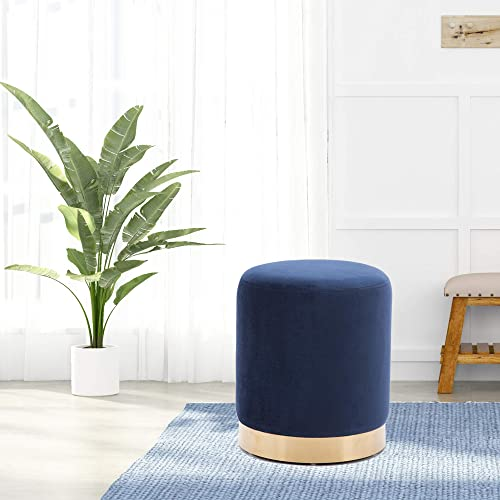 DAGONHIL Modern Round Velvet Ottoman,Upholstered Make-up Short Stools with Gold Plating Base,Pack of 1,Blue