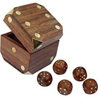 SKAVIJ Handmade Dice Set with Square Wooden Storage Box (Brown, 3-inch)