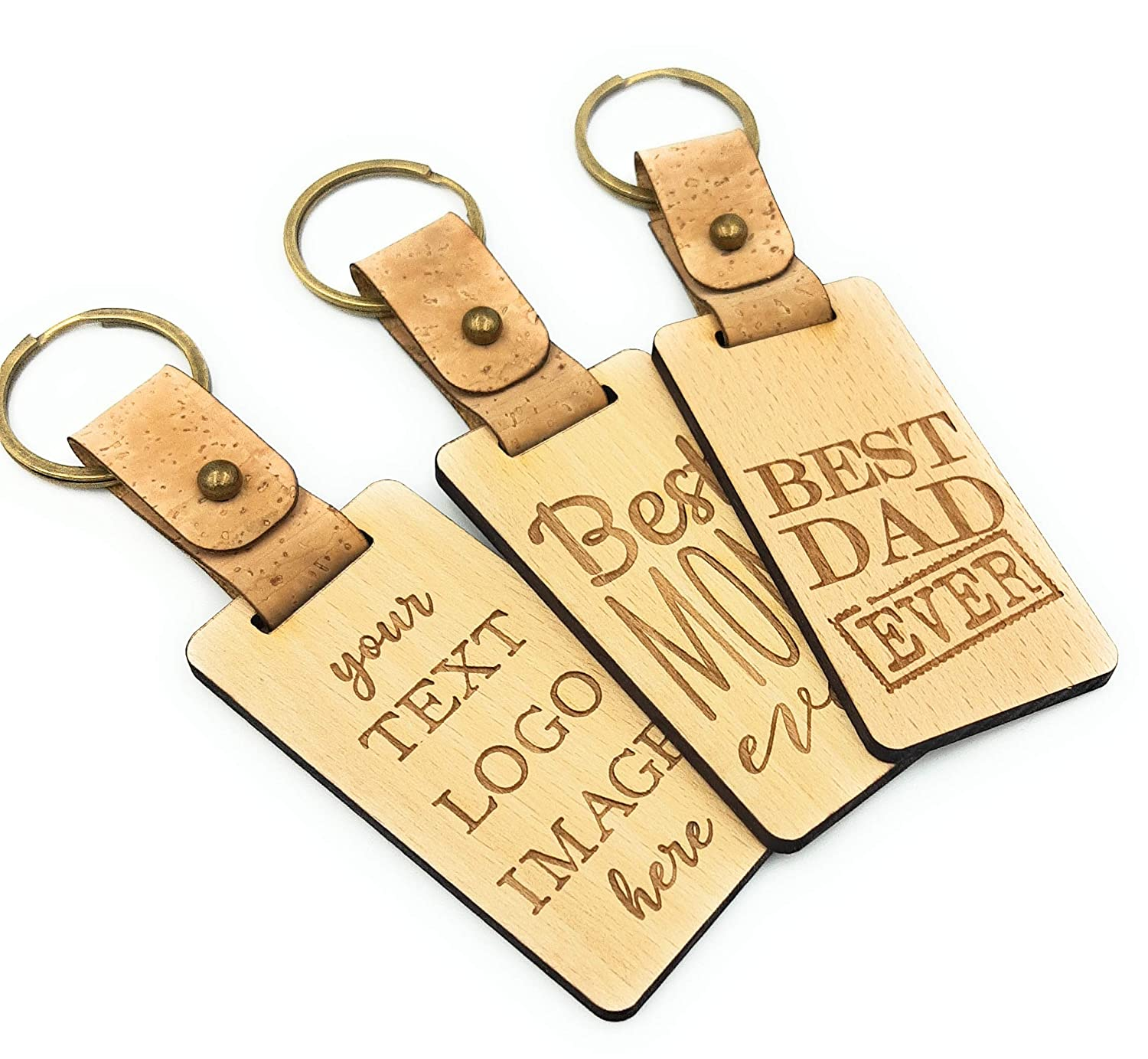 Custom leather name engraved keychain gift