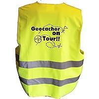 """Warnwesten mit Geocaching-Motiv """"Geocacher on Tour!!"""" in Gelb oder Orange"""