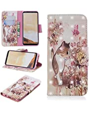 for Samsung Galaxy S8 Wallet Case and Screen Protector,QFFUN Glitter 3D Pattern Design [Cat] Magnetic Stand Leather Phone Case with Card Holder Drop Protection Etui Bumper Flip Cover