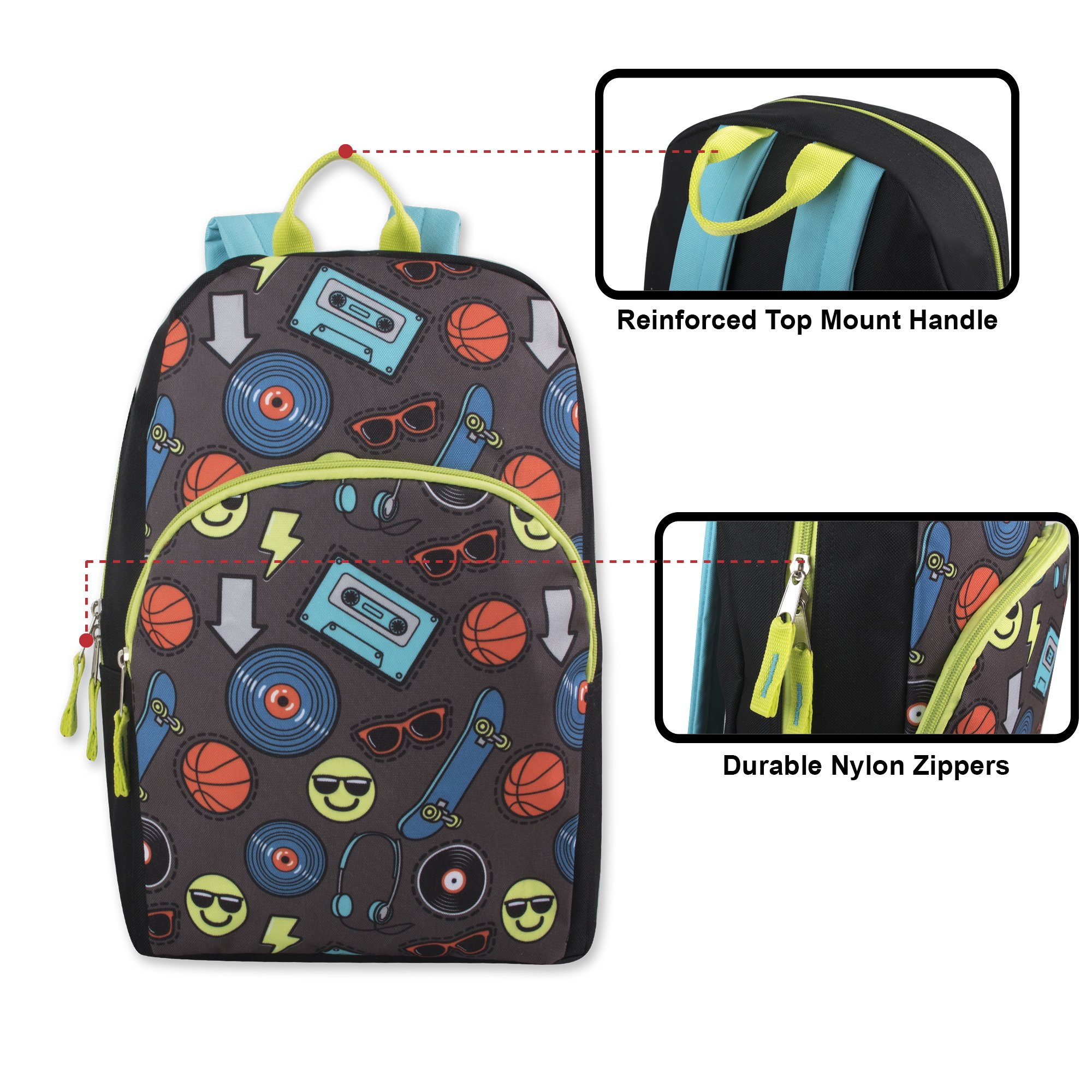 Trail maker Character Backpack (15'') with Fun Fashionable Design for Boys & Girls (Emoji Boy) by Trail maker (Image #2)
