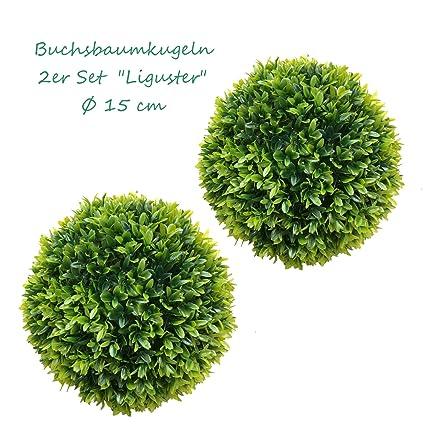 TLC 2 x 15 cm Ø künstliche Buchsbaumkugel, Spar - Set, EDEL LIGUSTER - sehr natürlich wirkend