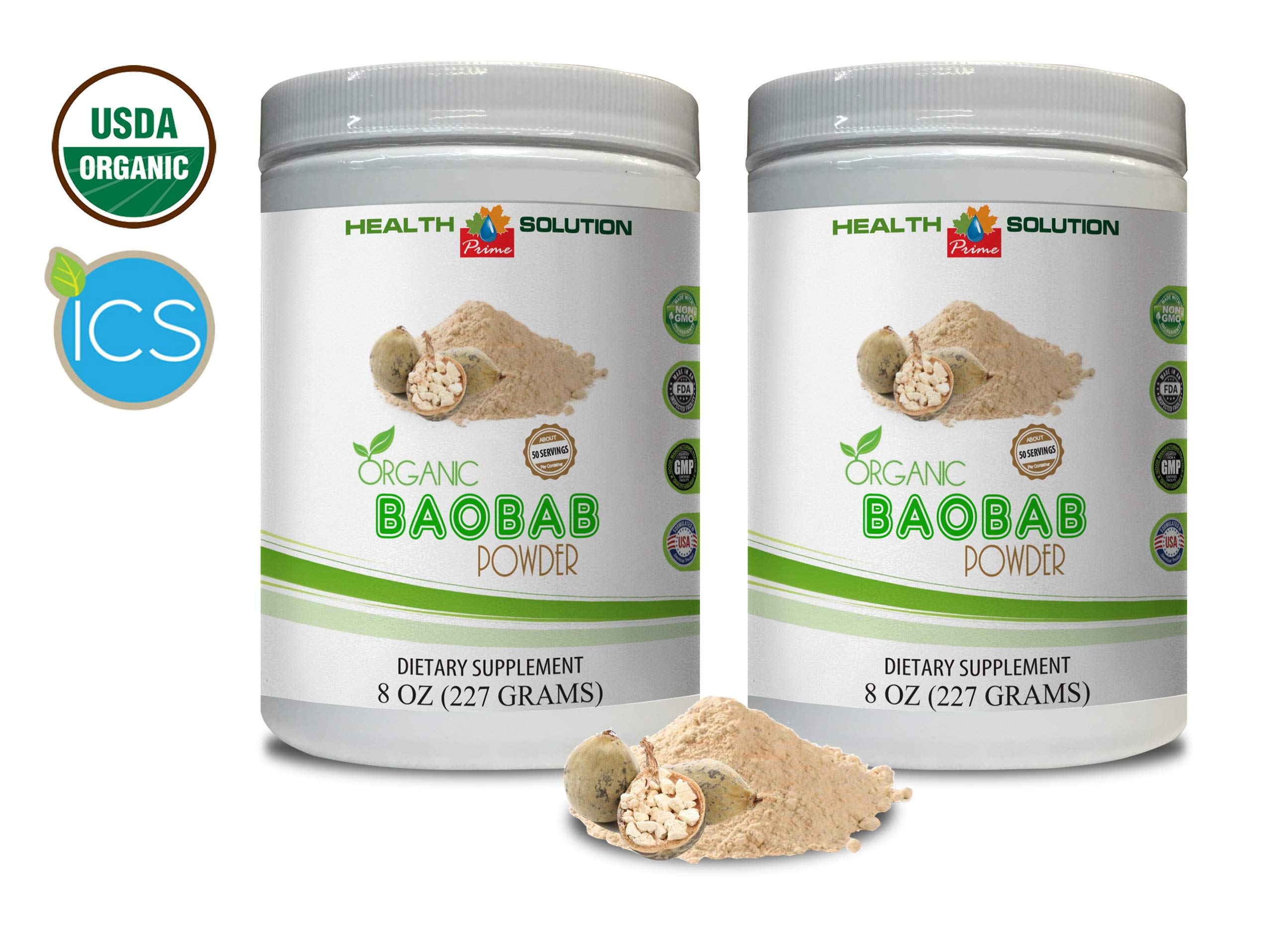 Immune Support Powder - Organic Baobab Powder - Baobab Boost Powder organicv - 2 Cans 16 OZ (100 Servings)