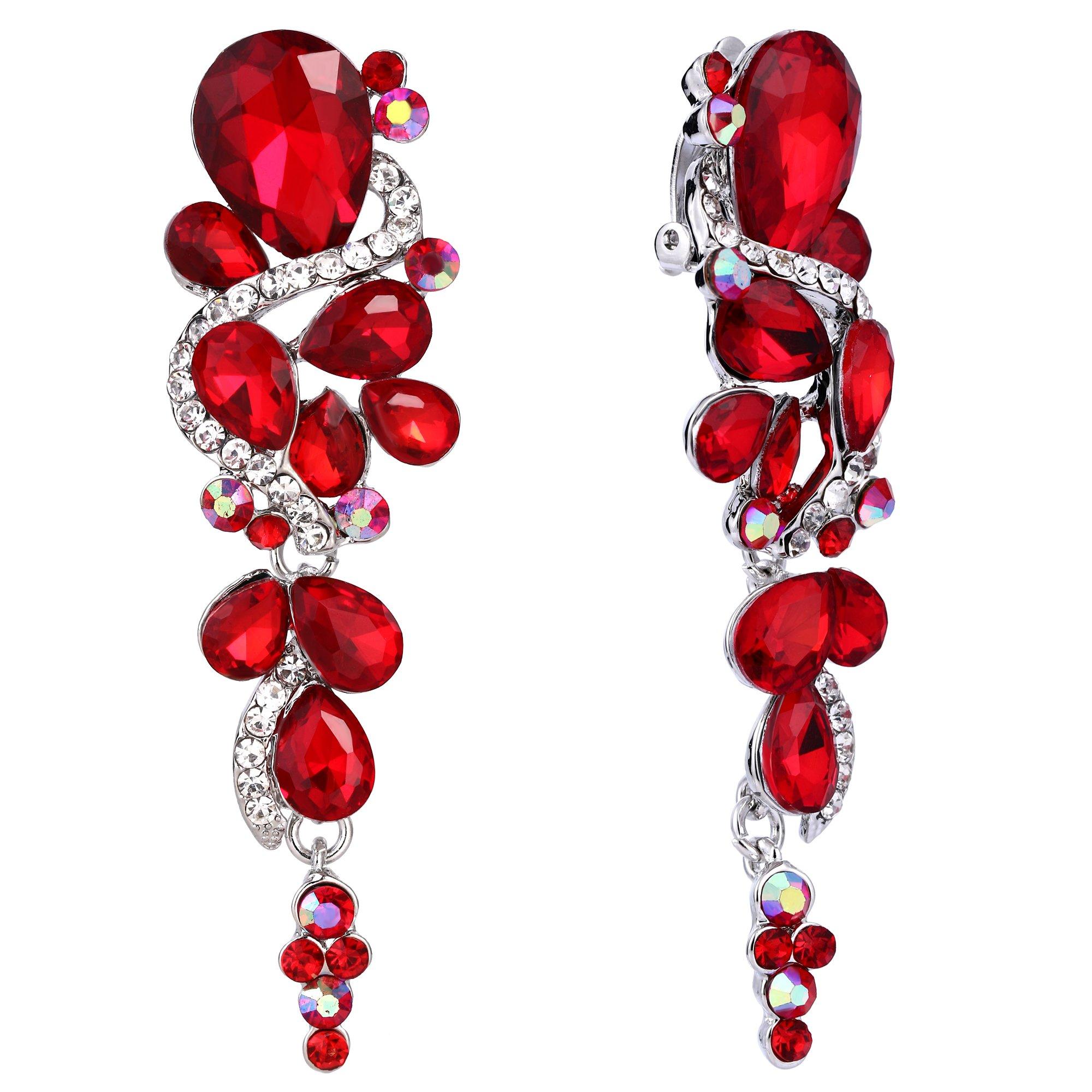 BriLove Women's Wedding Bridal Clip-On Dangle Earrings Bohemian Boho Crystal Multiple Teardrop Chandelier Earrings Ruby Color Silver-Tone