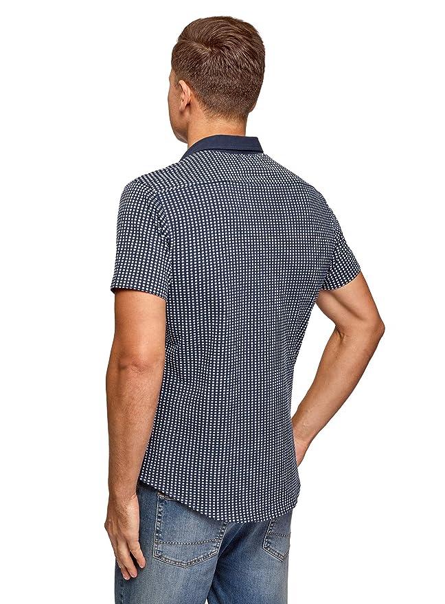 oodji Ultra Hombre Camisa Estampada de Punto: Amazon.es: Ropa y ...