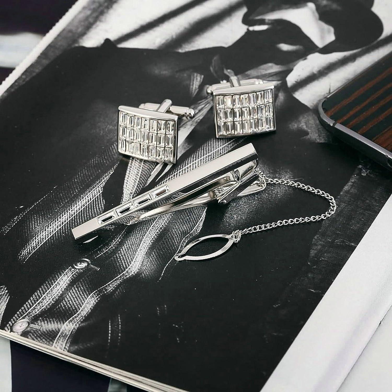 Aooaz 5 Styles Stainless Steel Cufflinks and Tie Cilp Set for Mens 3ocs Classic Cufflinks Shirt Gift H06