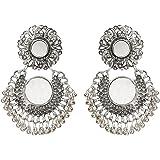 Nawab Boho Gypsy Mirror Oxidised Silver Earrings for girls and women (1 pair)