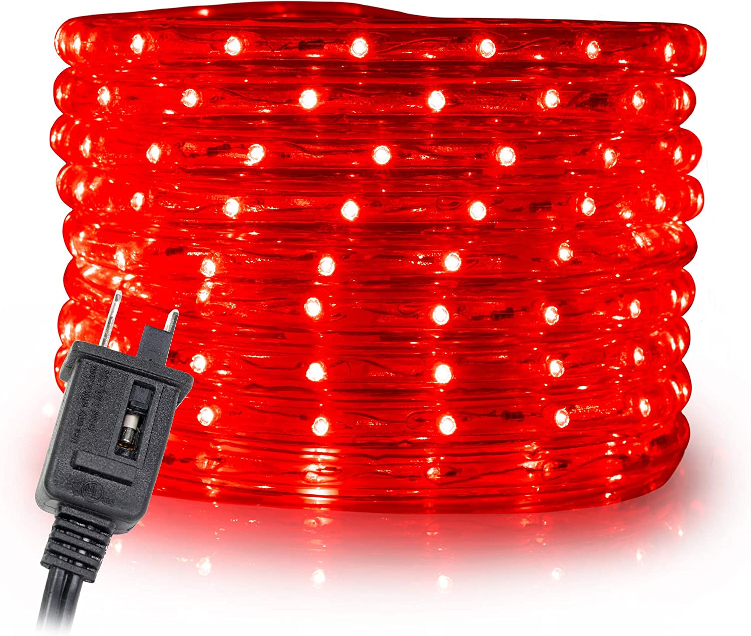 """WYZworks 150 feet 1/2"""" Thick RED Pre-Assembled LED Rope Lights with 10', 25', 50', 100' Option - Christmas Holiday Decoration Lighting 