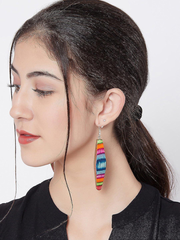 ZeroKaata/Fashion Jewellery Multicolored Striped Pattern Wooden Handmade Jewellery Earrings For Women /& Girls