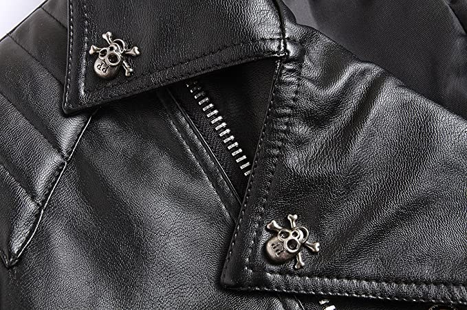 Glestore Veste en Cuir Crâne Rivet Moto Blouson Fashion Manches Longues Homme