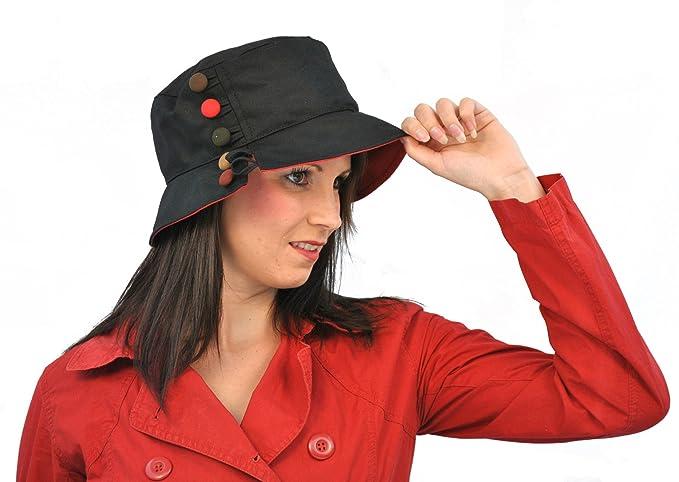 Olney Hats Oilcloth Olivia Bucket Hat - Black Black 1-Size  Amazon.co.uk   Clothing be0c7a031ede