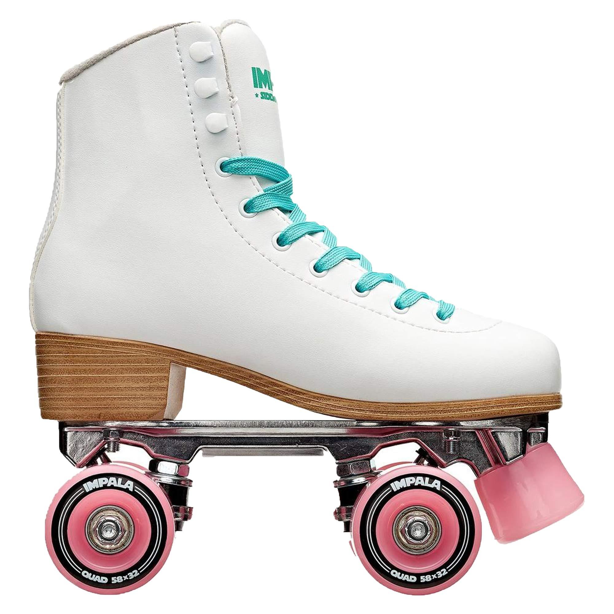 Impala RollerSkates Women's Lace-Up Rollerskates, White (100), 9