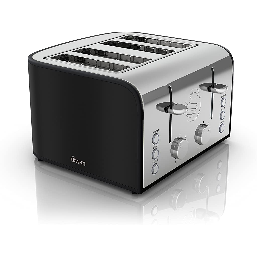 Black Swan 4-Slice Retro Toaster, 1600 Watt
